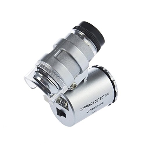 KIMILAR 60X Zoom LED Microscope Micro Lens New Silver