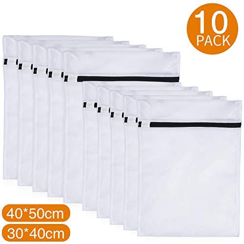 PaiTree 10er-Pack Wäschebeutel für Waschmaschine, Robuste Wäschesäcke aus Netzstoff mit Reißverschluss, Wäschenetze für Kleidung, Blusen, BHs, Strumpfwaren, Unterwäsche, Dessous und Babykleidung etc