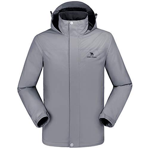 CAMEL CROWN wasserdichte Herrenjacke Mit Kapuze Windbreaker Windjacke Jacket Full Zip mit Winddicht Jacken für Outdoor Camping Bergsteigen Wander