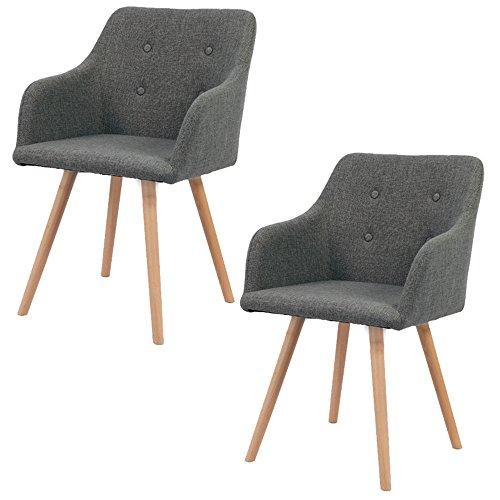 MCTECH 2x Stuhl Esszimmerstühle Esszimmerstuhl Stuhlgruppe Konferenzstuhl Küchenstuhl Armlehne Büro mit Massivholz Eiche Bein (Type A, Grau)