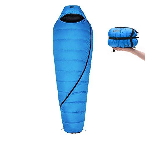 Daunen-Schlafsack Qeedo Takino (2 Größen: M & L) / 0°C Komforttemperatur (4-Saison) / Mumienschlafsack extrem klein - blau [Medium]