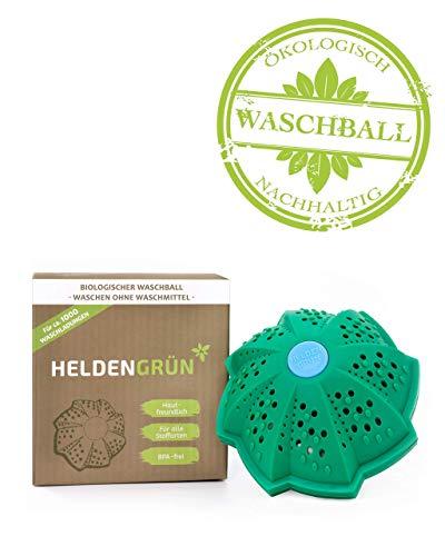 Heldengrün Öko Waschball - Waschen ohne Waschmittel - Laborgeprüft & BPA-frei - Eco Waschkugel mit vier Mineralienarten - Nachhaltig & Umweltfreundlich - Öko Waschmittel inkl. Anleitung