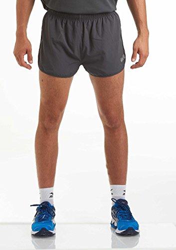 time to run Herren Laufshorts - Leichtes Pace Spirit Workout/Fitnessstudio/Sportliche Shorts mit Innenfutter und Reißverschlusstasche Hinten Holzkohle M