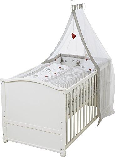 roba 0391W3V148 Komplettbett Set 'Adam und Eule', Babybett weiß inkl. Bettwäsche, Himmel, Nest, Matratze, Kombi Kinderbett 70 x 140 cm umbaubar zum Junior Bett