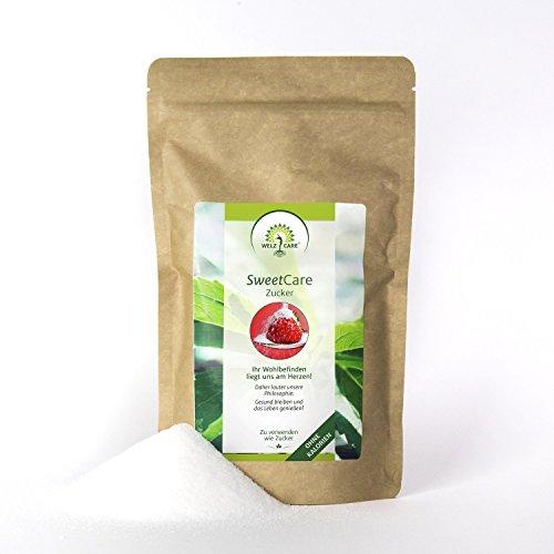 SweetCare Zucker Kristall, 1 Kg, der Zuckerersatz mit Erythritol und Stevia, die natürliche Alternative zu Zucker