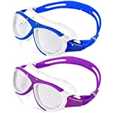 HeySplash 2 Pack Schwimmbrille, Anti-Fog Antibeschlag Schwimmbrillen mit weichem Silikonrahmen, Kein Auslaufen Augenfreundlich Gläser für Kinder Jugend, Lila + Marineblau