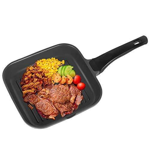 OZAVO Grillpfanne, Steakpfannen BBQ, 24x24x4.5cm antihaftversiegelt, induktionsgeeignet für Alle Kochfelder und Ofenfest