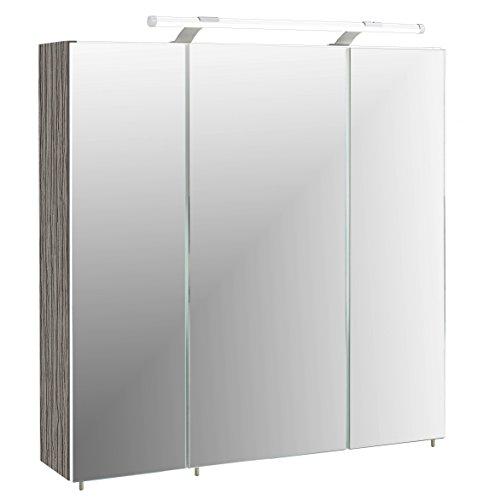 Schildmeyer Spiegelschrank Holz Dekor, 70 x 17 x 67 cm, esche grau