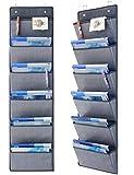 homyfort 2 Stück Hängeaufbewahrung für über die Tür oder Wand - Magazinboard, Hängeorganizer, Stoffregal, Zeitungshalter, 6 Taschen