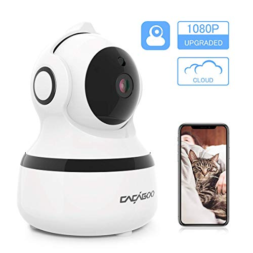 ÜberwachungsKamera innen WLAN Handy, CACAGOO 1080P WLAN IP Kamera Bewegungserkennung WLAN Kamera mit Nachtsicht, 2 Wege Audio