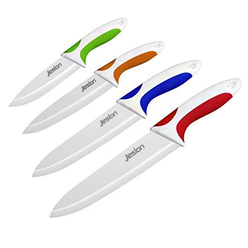 Jeslon Set Keramikmesser 4 Stücke - mit Schutzhülle Ergonomischer Griff Mehrfarbig - Kochmesser Sets für Fleisch, Brot, Obst & Gemüse