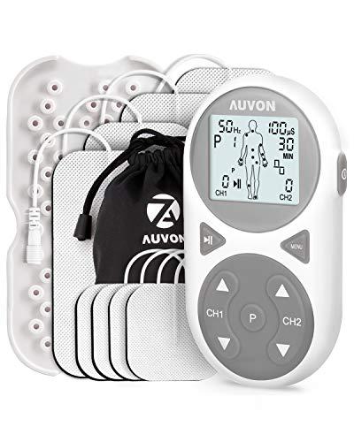 AUVON 3-in-1 TENS Gerät, 32 Modi 2 Kanäle Muskelstimulation EMS Tensgerät mit 11 TENS-Modi, 11 EMS-Modi, 10 Massagemodi und Premium elektroden pads zur Schmerzlinderung und Entspannung