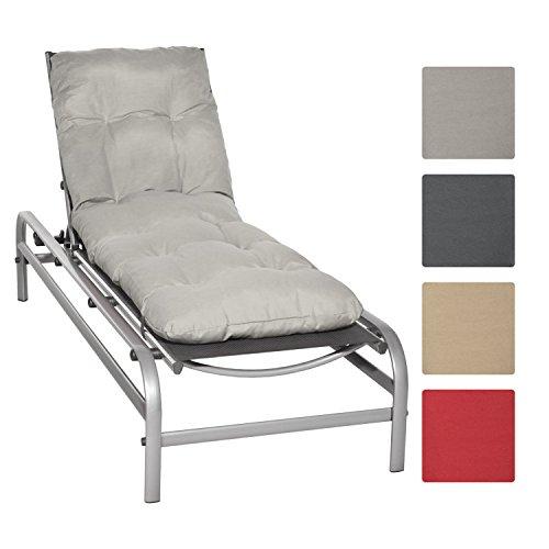 Beautissu Auflage für Garten-Liege Flair RL 190x60x8cm Sitz-Polster für Sonnenliege Schaumflocken-Füllung Hell-Grau