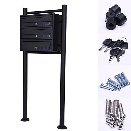 Melko Mehrfachbriefkasten Standbriefkasten aus verzinktem Stahl, Schwarz, 4 Fächer