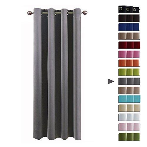 Ösenvorhang blickdichte Gardine - PONY DANCE 210 cm x 132 cm (H x B), Grau 1 Stück Vorhang mit Ösen Verdunkelungsvorhänge für Küche, Energiespar & Wärmeisolierend