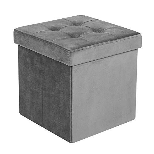 SONGMICS Faltbarer Sitzhocker mit Stauraum, 40L Sitztruhe, Fußhocker, Aufbewahrungsbox für Spielzeug, bis 300 kg belastbar, Samt, grau LSF23GY