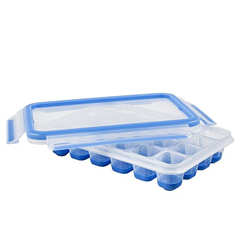 Emsa 514549 Eiswürfelbox mit Deckel 24 Würfelfächer, Clip und Close, transparent/blau