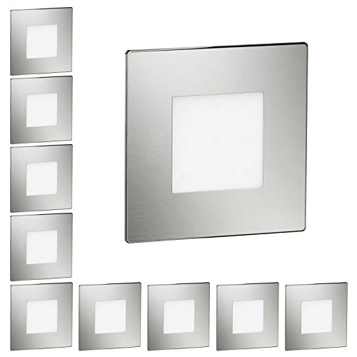 ledscom.de LED Treppen-Licht Treppenbeleuchtung, eckig, 8x8cm, 230V, weiß, 10 Stk.
