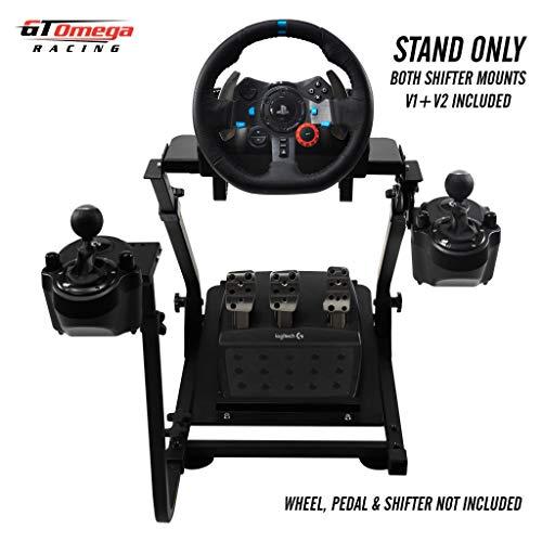 GT Omega Lenkradständer für Logitech G29 G920 Thrustmaster T500 T300 TX & TH8A Shifter Mount V1 - PS4 Xbox Fanatec Clubsport - Neigungsverstellbares Design für ultimative Sim Racing-Erfahrung