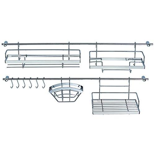 Küchen Organizer 16-teilig - 2 Hakenleiste (je 78 cm) mit 4 Halterungen + 6 Haken - mit 2 Gewürzregalen + Hängekorb uvm. aus verchromten Metall