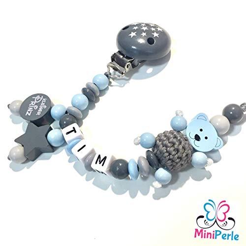 Schnullerkette mit Namen - Mädchen - Junge - viele Modelle - viele Farben (grau, blau, hellgrau, Prinz, Sterne, Bär, Häkelperle, C041)