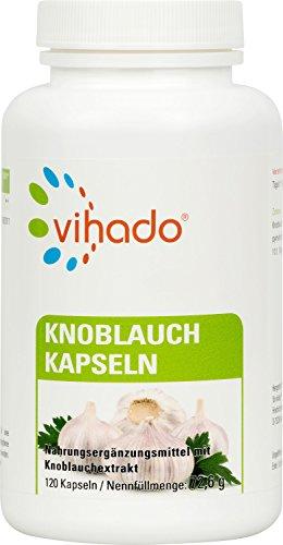 Vihado Knoblauch Kapseln hochdosiert, vegan + fast geruchlos, Ohne Magnesiumstearat, 4 Monate Sparpaket, Made in Germany, 120 Kapseln