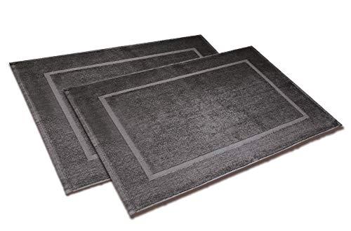 Wash Monkey - Badvorleger Set, 2er Pack groß, Badematte Badteppich Duschvorleger, 50x70 cm - 100% Baumwolle, Dichte 650 g/m² | Premium Qualität | anthrazit