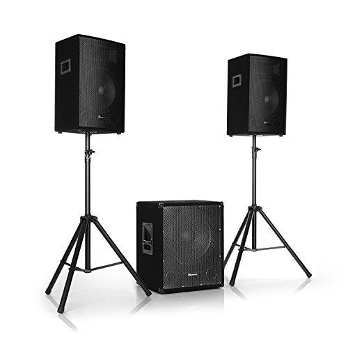 auna Cube 1512 • 2.1 Aktiv PA-Set • 1200 W Gesamtleistung • 38 cm (15') Subwoofer • 2 x 30 cm (12') Lautsprecher • Bi-Amping Technologie • Echo • Bass- und Treble-Control • inkl. Zubehör • schwarz