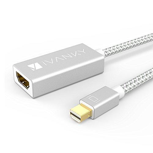 Mini Displayport auf HDMI Adapter (Superschlank, Extrem Langlebig) - Lebenslange Garantie - iVanky Nylon Thunderbolt auf HDMI Adapter für Apple, MacBook Air / Pro, Microsoft Surface Pro - Silber