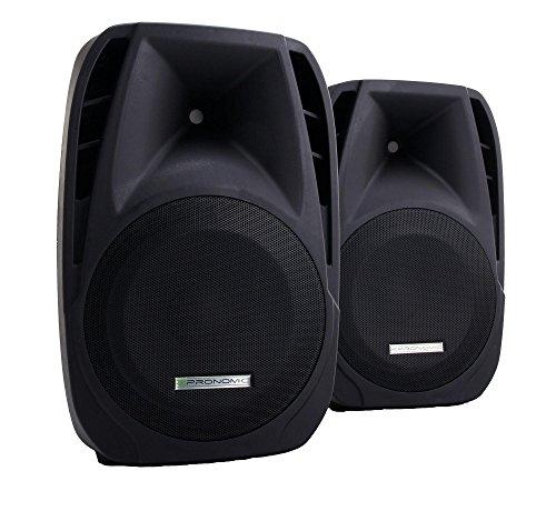 2x Pronomic PH15 Bühnen- und Konzertlautsprecher PA-Lautsprecher (passive ABS PA-Boxen, 15 Zoll, 38 cm, 700W, Rollen) schwarz