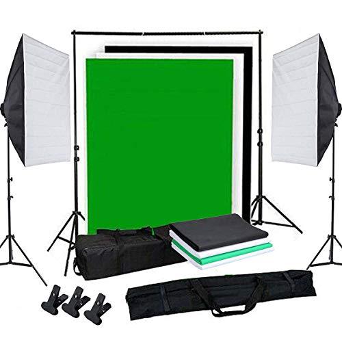 OUBO Profi Fotostudio Set Tageslichtlampe Studiosets Greenscreen Set Fotoleinwand Hintergrund inkl. 50 * 70cm Dauerlicht Softbox 4X Hintergrundstoff(Schwarz, weiß*2, grün) Schutztasche