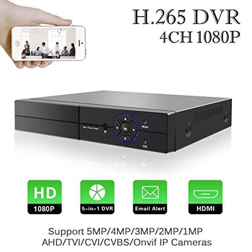 1080P Digitaler Videorecorder 5 in 1 Aottom 4CH DVR Video Recorder AHD/TVI/CVI/960H DVR HVR Onvif NVR Echtzeit CCTV Security DVR mit HDMI, P2P Wolke, E-Mail Warnung, Ferner Smartphone Zugang (NO HDD)