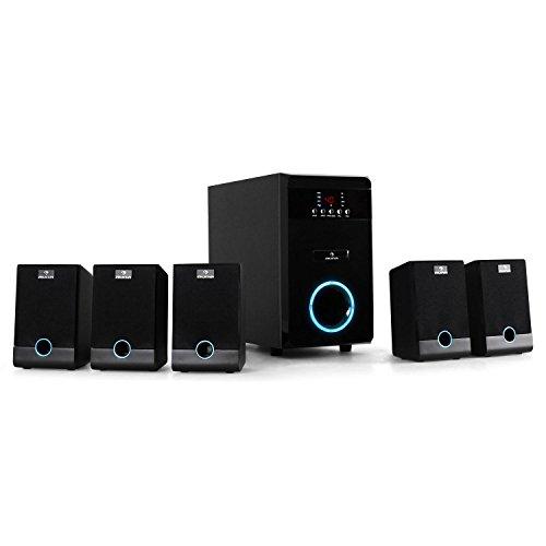 auna 5.1-JW 5.1 Surround Sound System Heimkinosystem (aktiv Subwoofer, 95 Watt RMS, 5,25' Tieftöner, Bassreflex, 5 x Satellitenlautsprecher, Fernbedienung, LED) schwarz