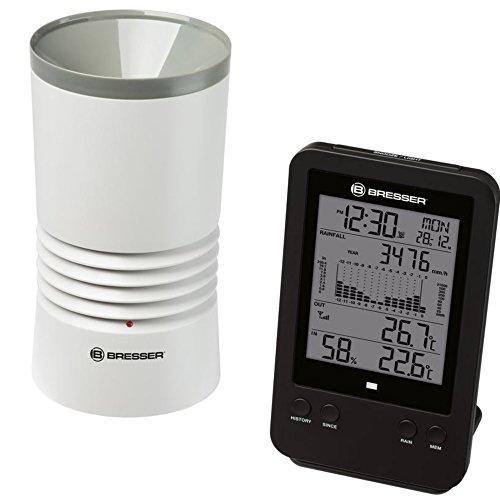 Bresser Profi Regenmesser Station mit DCF Funkuhr, Wecker, Außentemperatur, Innentemperatur und Innenluftfeuchtigkeit mit Hintergrundlicht und Datenspeicherung von Tiefst- und Höchstwerten