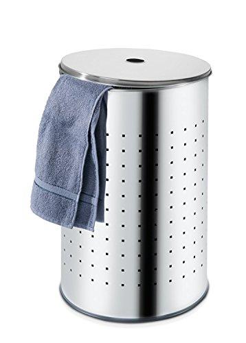 Wäschetonne Wäschekorb Wäschesammler BARREL 1 | Edelstahl glänzend | ca. 54 Liter | 57,5 cm hoch