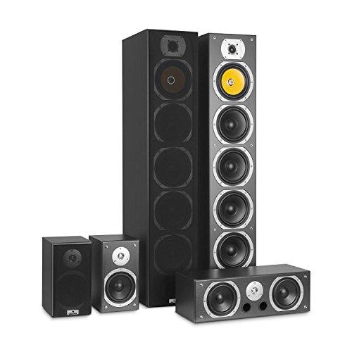 AUNA V9B Surround Lautsprecher - Boxen Set , Surround Sound-System , Heimkinosystem , gemasertes Bassreflex-Chassis , 400 Watt RMS , Frequenzgang: 20 Hz bis 20 kHz , Wandmontage möglich , schwarz