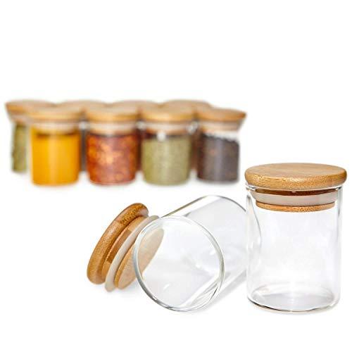 G&K Kitchenware Premium Gewürzgläser Set [10 teilig] aus Glas mit Einem hochwertigen Holz Deckel aus Bambus I Die idealen Gewürzdosen mit Einer Füllmenge von [120ml]