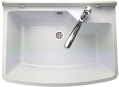 GOSPO Ausgussbecken mit stehende Armatur, Waschbecken 61 cm x 44 cm x 23,5 cm, Waschtrog mit Überlauf und Siphon, Spülbecken inkl. Zubehör, Waschraum (Weiß)