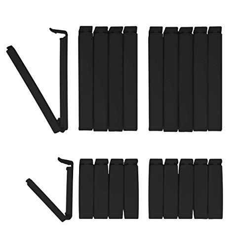 Black Edition BUNEO Tütenclips (20 Stück)   20 Verschlussclips: 10 x schwarz (11 cm) + 10 x schwarz (6 cm)