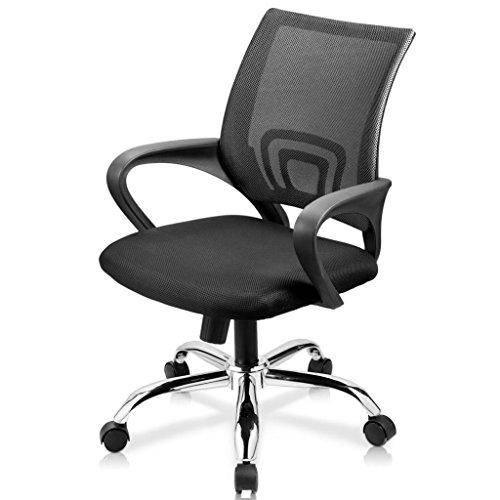Bürostuhl Schreibtischstuhl, ergonomischer Drehstuhl mit Netzrücken, Wippfunktion feste Armlehne höhenverstellbar, Schwaz Chefsessel mit Mesh Netz in Schwarz, JLB011-SS