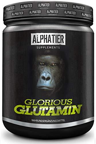 ALPHATIER GLORIOUS L-GLUTAMIN Pulver 500g Ultrapure - 99,95% rein - MAXIMALE DOSIERUNG - ohne Zusatzstoffe - hergestellt in Deutschland - Fitness & Bodybuilding