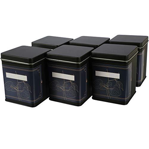 | 6 x Klassische eckige Teedose/Vorratsdose, Schwarz, inkl. 6 Etiketten zum beschriften | aromadicht aus Metall für je 180 g | 10 x 7.6 x 7.6 cm (H,B,T) | auch ideal als Mehl-, Reis- oder Keksdose