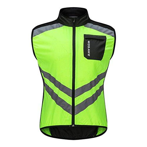 perfk Fahrradweste Reflektierende Radweste Fahrradtrikot für Damen und Herren - Grün L