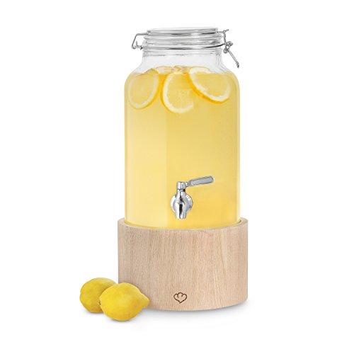 Getränkespender Greta 5 Liter mit Edelstahl-Zapfhahn u. Ständer aus Eichenholz von Springlane Kitchen hochwertiger Limonaden-Spender, Dispenser im Vintage Design Mason Jar, Ideal für Sommer-Partys!