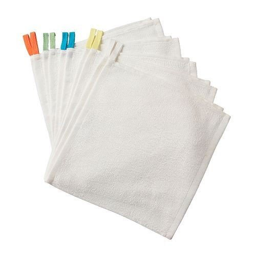 IKEA Krama Waschlappen, Weiß 10St. Baumwolle Ungebleicht 30x30cm