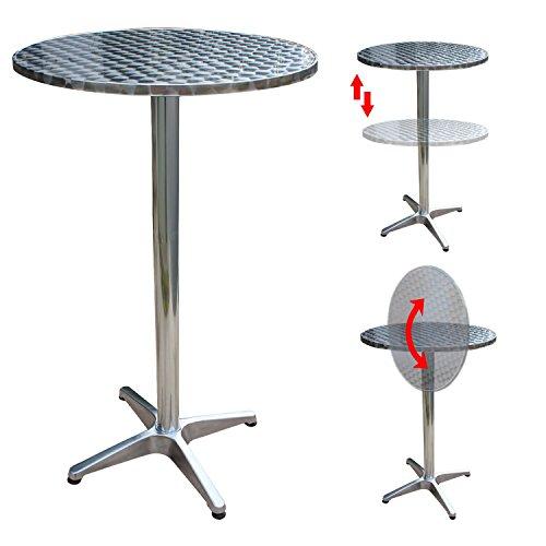Alu Silber Klappbar Bistrotisch Höhenverstellbar Bartisch Bistro Tisch Stehtisch Ø60cm Silber