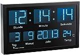 Lunartec LED Funk Wanduhren: Multi-LED-Funk-Uhr mit Datum und Temperatur, 412 blaue LEDs (Wanduhr Digital)