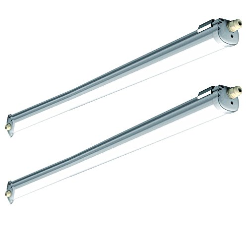2er Set 36 Watt SMD LED Decken Feuchtraum Leuchten 4500 Kelvin Industrie Wannen Strahler