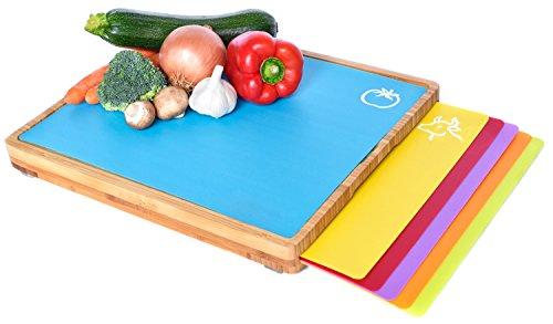 Sandford CUT Bambus Holz Schneidbrett | Schneidebrett Set mit 6 Schneidematten / flexible Kunststoff Matten | Lebensmittel wie Fisch / Gemüse / Geflügel separat schneiden | hygienisches Küchenbrett