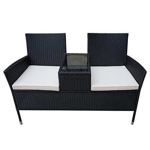 Froadp Poly Rattan balkonmöbel Garten möbel Set inkl. Sitzbank mit Tisch und Weiß Sitzkissen (Weiß Sitzkissen,B Type)